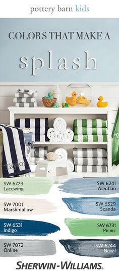 Grab a towel, and a rubber ducky—then make a splash with 28 kid-friendly colors from the @potterybarnkids Spring/Summer 2017 palette. Each color has been carefully selected to coordinate perfectly in bedrooms, playrooms or any space your little tykes spend time in. Like softer hues? Try colors like Lacewing SW 6729 or Marshmallow SW 6729. Looking for bold accent wall colors? Go with Scanda SW 6529 or Indigo SW 6531. Or get crazy and let your kids choose!