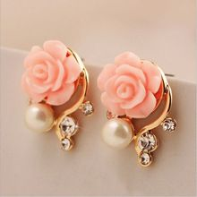 Fashion Jewelry 2015 New Earrings For Women Korean Style OL Pink Rose Flower Crystal Pearl Double Side Stud Earrings 163(China (Mainland))