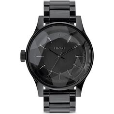 Nixon The Facet Watch, 42mm ($250) ❤ liked on Polyvore featuring jewelry, watches, accessories, bracelets, acc, all black, black bracelet, stainless steel bracelet, stainless steel watches et black watches
