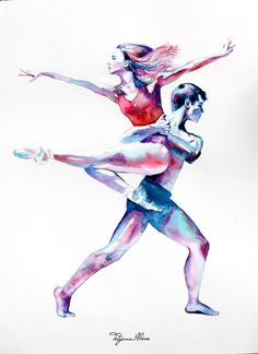 Original Watercolor Painting - Portrait of dancers. Couple portrait. Shades Of Cool