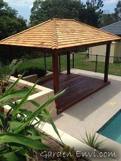 Hardwood Gazebo with Cedar Roof and Kwila Deck. Visit our website to view more gazebos and pergolas - www.gardenenvi.com
