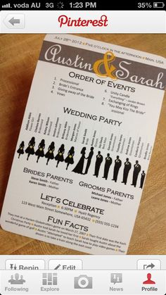 my idea:newspaper like order or service, menu, info about ceremony, everything...