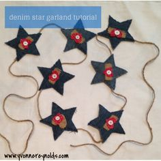 Denim star garland tutorial - do you cut off jeans for your daughter to make shorts for her for the summer? Here is a way to use up some of that denim to make a festive, patriotic decoration for your home for the summer.