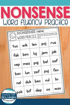 These FREE noise word fluency pages for kindergarten or first grade can be used in reading groups as an intervention, progress monitoring, extra activities or just for practice. Student literacy centers can benefit from this important early literacy skill Literacy Skills, Early Literacy, Literacy Stations, Kindergarten Reading Activities, Reading Intervention Activities, Phonics Activities, Kindergarten Word Work, Phonics Rules, Educational Activities