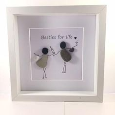 Pebble art friends gift -Besties for life - The Lady Mildred Sea Glass and Pebble Art Stone Pictures Pebble Art, Stone Art, Sea Glass Crafts, Sea Glass Art, Stained Glass, Stone Crafts, Rock Crafts, Art Friend, Pebble Art Family