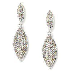 #jeweltweets Silver Aurora Borealis 2 Oval Shape Rhinestone Hooked Dangle Earrings
