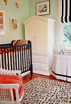 forget the fact that this is a baby room...mint plus bright white plus black and white stripes plus coral  : )