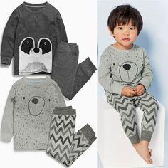 Новый Дети Мальчик С Длинным Рукавом Медведь Топы + Брюки 2 шт. Пижамы пижамы Ночное Белье Pjs Одежда Наборы
