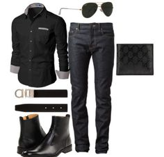 Black jeans, button down, belt and boots