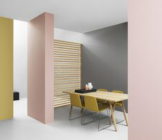 Bulk table by Normann Copenhagen - loving it surrounded by the pastel walls.