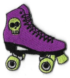 Purple Roller Skate with Skull Embroidered Patch/Iron-On Applique.