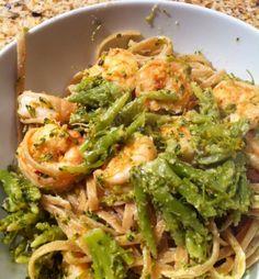 Shrimp, broccoli and goat cheese pasta dish