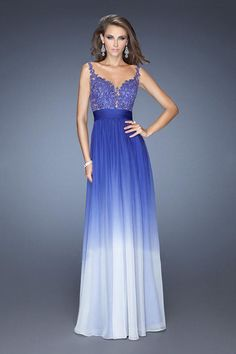 2014 Sexy Open Back A Line Prom Dress With Beaded Applique Embellished Bodice Gradient Color USD 169.99 BPPMPGYM6D - BrandPromDresses.com
