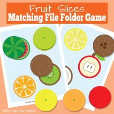 If your kids love to learn and play with file folder games or if you need a busy bag idea you are going to love this fruit slices file folder game!