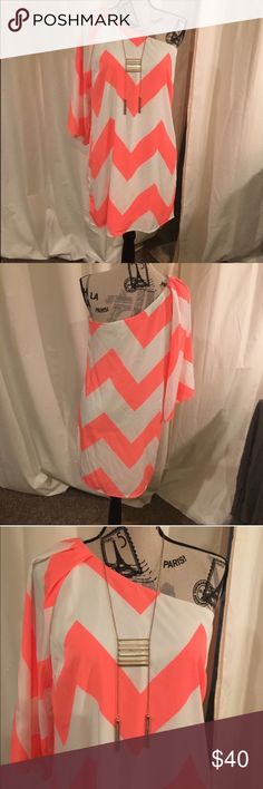 🎉SALE🎉 One Sleeve Neon Chevron Dress Super cute dress, only worn a handful of times, still in great condition. Has one sleeve and the other side is off the shoulder. Looks great with wedges and a long statement necklace. Pink Owl Dresses One Shoulder