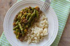 Romige sperziebonen met gehakt en rijst