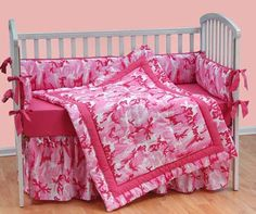 $108.95 Hot Pink Camo Crib Bedding by Alyssa Preston | MonsterMarketplace.com