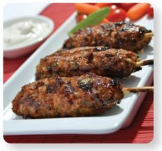 A recipe created by Winnipeg Free Press columnist, Doug Speirs. Grilled turkey meat, slathered with teriyaki and serving with a little tzatziki sauce. This recipe is sure to become a family favourite! Teriyaki Chicken Skewers, Sauce Teriyaki, Ww Recipes, Turkey Recipes, Whole Turkey, Grilled Turkey, Tzatziki Sauce, Nutrition, Food Categories