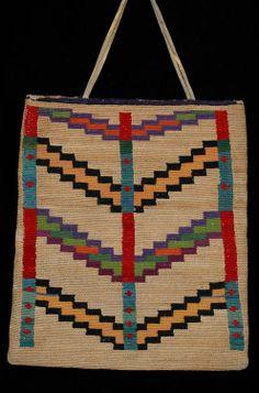 "Nez Perce Corn Husk Bag ca. 1910, Geometric Design 10 1/4"" H. 9 1/2"" W. Fine Condition"