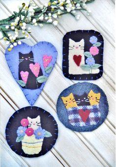 Felt Patterns Free, Felt Ornaments Patterns, Wool Applique Patterns, Felt Embroidery, Felt Applique, Christmas Embroidery, Needle Felted, Felted Wool, Sewing Projects For Kids