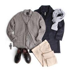 남자 봄코디, 데일리룩, 가디건, 코트, 남자옷