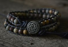 Tribe Warrior- Mens Bracelet, Men Yoga Jewelry, Tibetan Jewelry, Chakra Bracelet Jasper Earthy Bracelet, Men Stone Leather Wrap on Etsy, $41.00