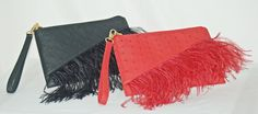 Flame Red and Black French Clutch in genuine ostrich and with real ostrich feathers! #cute #sweet #new #French #handbags