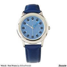 Cat lovers wrist watch with blue face and paw prints numbers. Choose your color band and more.