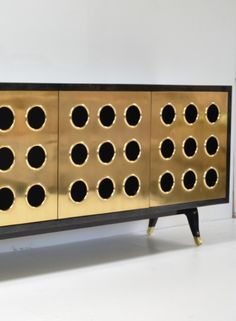 Goatskin Sideboard with Brass Doors
