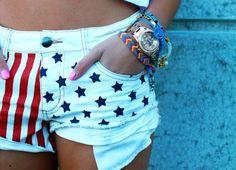 White American Flag Shorts