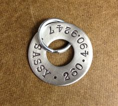 Hand Stamped Dog Tags on washers  I have a set of letter punches somewhere?