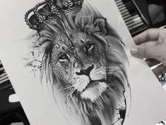 realistische löwenkopf zeichnung, tattoo vorlage zeichnen, löwe mit großer krone