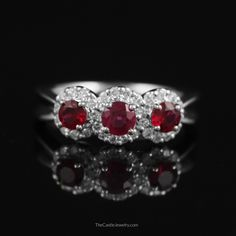 Round Ruby 3 Stone Ring with Diamond Bezels in 14K White Gold