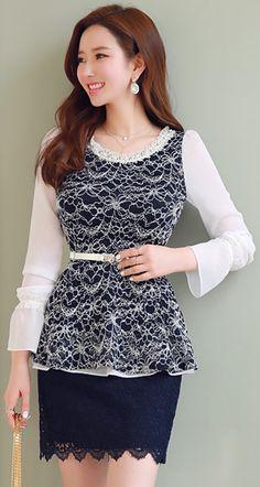 StyleOnme_All Over Lace H-Line Skirt #navy #lace #feminine #koreanfashion #kstyle #seoul #pencilskirt #springtrend