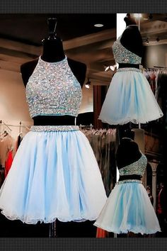 Formal Prom Dresses, light sky blue homecoming dresses tulle homecoming dress 2 pieces prom dress two piece cocktail dresses sweet 16 gowns Brickell Bridal Backless Homecoming Dresses, Pretty Prom Dresses, Prom Dresses For Teens, Hoco Dresses, Tulle Prom Dress, Prom Gowns, Party Dress, Quinceanera Dresses, 1950s Dresses