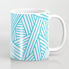 Abstract Teal & white Lines and Triangles Pattern-Mix and Match with Simplicity of Life Coffee Mug by Simplicity Of Life | Society6