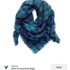 Aerie American Eagle large blanket scarf Blue and green giant square blanket scarf. Worn a handful of times, still looks new. Cozy and warm. ❌No Trades! Please Use Offer Button. aerie Accessories Scarves & Wraps