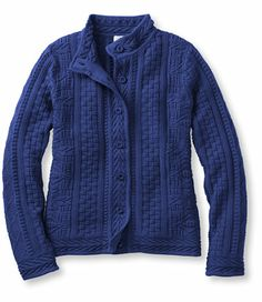 Stitchworks Sweater: Cardigans | Free Shipping at L.L.Bean in Cobalt Misses L, also Royal Purple