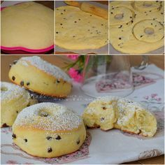 Donut with ricotta and chocolate chips Love Eat, I Love Food, Baking Recipes, Dessert Recipes, Delicious Desserts, Yummy Food, Ricotta, Sweet Cakes, Sweet Bread