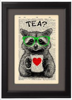 Illustration, Raccoon tea time, DICTIONARY Print, art poster, mug of tea, Book pages, Dorm decor, Gift poster, Wall decor, CODE/172