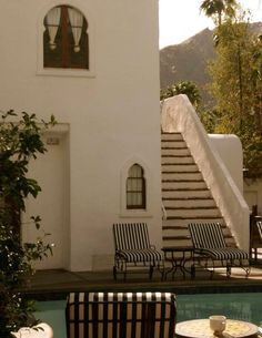 Two of the touchstones in our overall redecoration of the house are Palm Springs modern and California beach house Spanish Colonial Homes, Spanish Style Homes, Spanish Revival, Spanish House, Beautiful Architecture, Architecture Details, Mediterranean Home Decor, Courtyard House, House Painting