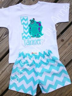Monsters Inc Birthday outfit on Etsy, $32.00 , it was neat to see this outfit this morning, with Tanner on it at that (;