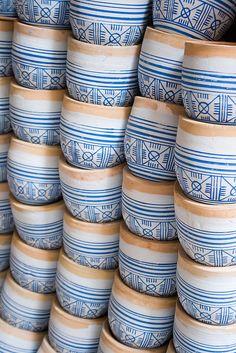 fes, morocco blue white pots clay