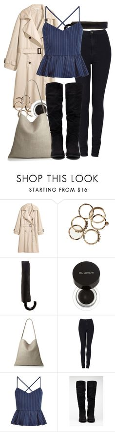 """Katherine inspired rainy day outfit"" by tvdstyleblog ❤ liked on Polyvore featuring H&M, Oasis, shu uemura, Workshop, Topshop, New Look and Forever 21"