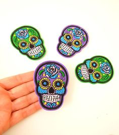 PURPLE Sugar Skull Iron-on Patch - Dia de los Muertos skull aplique - GREEN Sugar Skull Iron on Patch -  Skeleton patches.  UK Seller