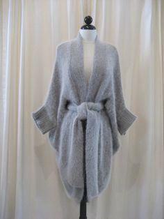 Thomas Wylde Light Grey Angora Sweater Coat