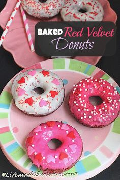 Baked Red Velvet Cake Donuts with Cream Cheese Glaze - Classic Red Velvet cake transformed into donuts / doughnuts with a sweet and slightly tangy cream cheese glaze | Life Made Sweeter