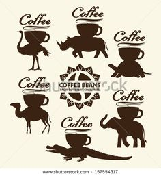 Coffee beans from different countries. Cup of coffee on the back of a different animal - stock vector