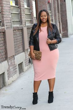 Pink Edge - Trendy Curvy  A touch of leopard and a gorgeous pink with an edgy black bikers' jacket.