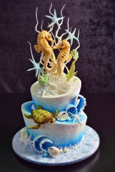 Under Water Sea Horse Cake by Veena's Art of Cakes